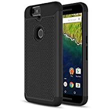 Nexus 6P Case, MoKo [Shock Absorption] Slim Dual Layer Protective Case with Soft Silicone Bumper and Rigid PC Back Cover for Google Nexus 6P 5.7 Inch (2015) - Black (NOT FIT Nexus 6 2014 Version)