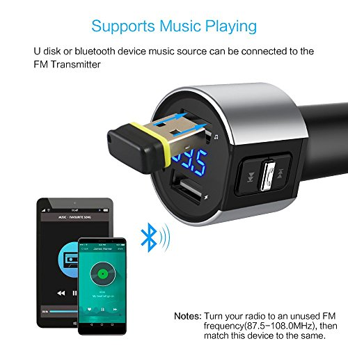 Car charger, BliGli Bluetooth FM Transmitter, BT Receiver with Microphone, Hands -free Calling, 3.4A Dual USB Ports for iPhone,Samsung and Android,Supports Call Number Announcement,Last Call Redial by Bligli (Image #3)