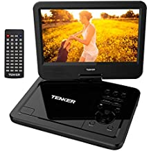 """TENKER  10.5"""" Portable Dvd Player With Swivel Screen, 3 Hours Rechargeable Battery With Sd Card Slot And Usb Port, Black"""