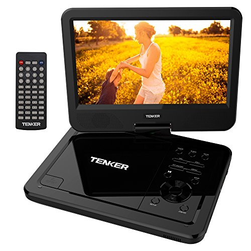 TENKER  10.5″ Portable Dvd Player With Swivel Screen, 3 Hours Rechargeable Battery With Sd Card Slot And Usb Port, Black