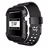 Watch Band for Apple – Rugged Protective Sports Silicone Case, Replacement Wristband, Sports Strap Bracelet for iWatch Series – Unisex - Black - 38mm by Spartan Watch Co.
