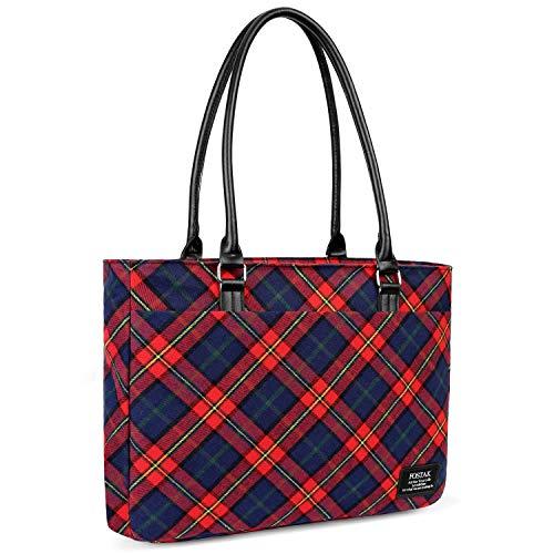 Laptop Tote Bag DTBG 15.6 Inch Women Shoulder Bag Canvas Briefcase Casual Handbag Laptop Case 15-15.6 Inch Tablet/Ultra-Book/MacBook/Chromebook(Red)