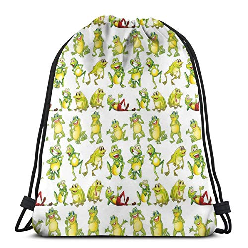 Unisex Drawstring Bag Gym Bags Storage Backpack,Frogs In Different Positions Funny Happy Cute Expressions Faces Toads Cartoon (Texas Toads Cartoon)