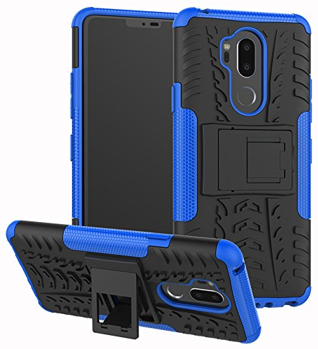 LG G7 Case, Yiakeng Dual Layer Shockproof Wallet Slim Protective with Kickstand Hard Phone Case Cover for LG G7 ThinQ 6.1 (Blue)