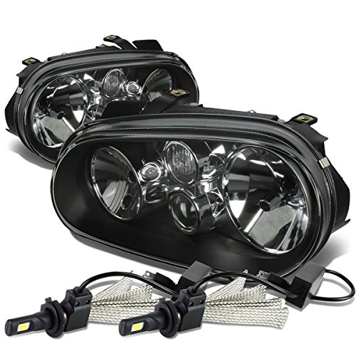 (For VW Golf MK4 / Cabrio Pair of Black Housing Clear Corner Headlight + H7 LED Conversion Kit)