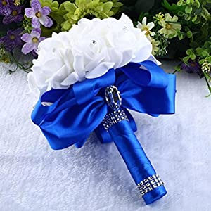 DEESEE(TM) NewCrystal Roses Pearl Bridesmaid Wedding Bouquet Bridal Artificial Silk Flowers 72