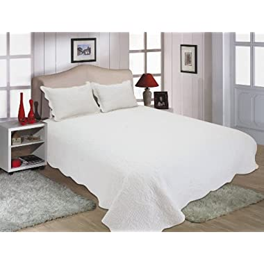 All for You 3pc Reversible Quilt Set, Bedspread, and Coverlet-white-Oversize 100  x 110  (Larger King with king size pillow shams,king, California King)