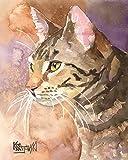 Gray Tabby Cat Fine Art Print on 100% Cotton Watercolor Paper
