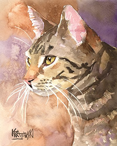 - Gray Tabby Cat Fine Art Print on 100% Cotton Watercolor Paper