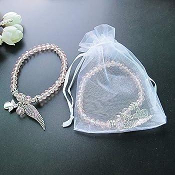 Amazon.com: 12 pulseras con alas de ángel rosas con bolsas ...