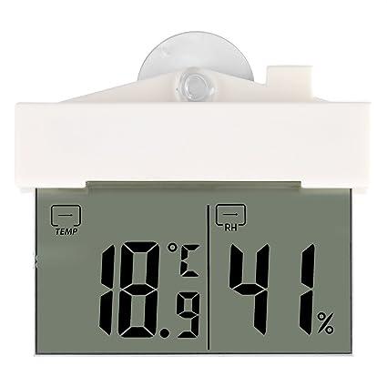Termómetro Autoadhesivo LCD Hidrómetro Digital con Ventosa Reloj Ventana Montado en Pared Interior Jardín al Aire