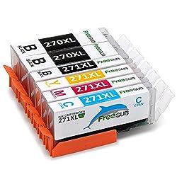 FreeSUB 6 Pack (No Gray) PGI-270XL CLI-271XL Compatible Ink Cartridges 5 Color High Yield, 1Set+1BK Compatible With Canon Pixma MG5720 MG5722 MG5721 MG6820 MG6821 MG6822 TS5020 TS6020 Printer