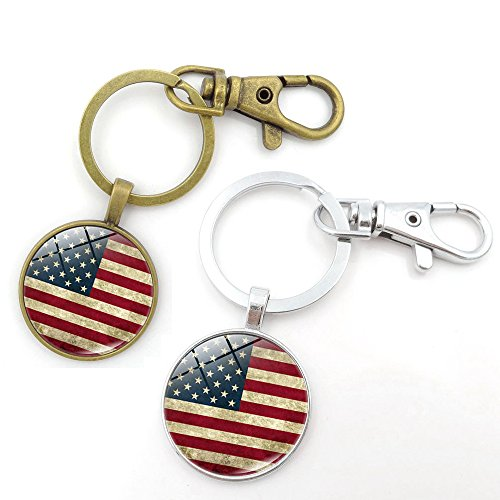 (Key Chains Rings Keychains American USA Flag Round Model Clip Hooks Men Women Retractable Decorations Loop Clasp 2 pcs【1797】 (1GOLD&1SILVER))