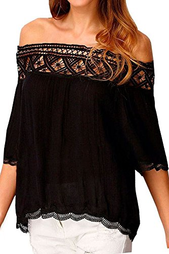 LOSRLY Womens Sexy Lace Crochet Off Shoulder Crop Tops Blouses and Shirts Black S 4 6