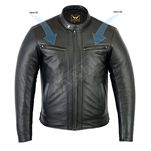 A&H Apparel Mens Motorcycle Leather Jacket Genuine Cowhide Naked Motorcycle Vented and Zip-Out Linning Genuine Leather Jacket (XX-Large)