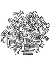 100 stuks aluminium hulzen, 4 mm aluminium klem, dubbele hulzen kabelklem, aluminium krimplus voor staalkabel, kabelkabel, zilverkleur