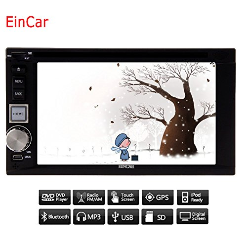 EinCar Double 2 Din Car Autoradio Bluetooth for Automotive 6.2 inch Car DVD Player in Dash Car Stereo System for FM/AM Radio GPS Navigation with 8GB GPS Map support Steering Wheel Control by EinCar