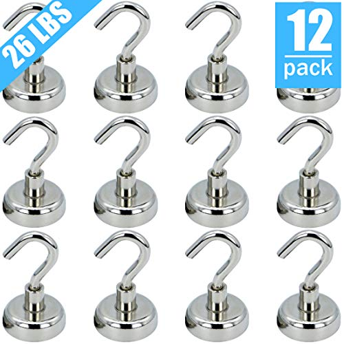 VNDUEEY 26LBS Heavy Duty Magnetic Hooks, Strong Neodymium Magnet Hook for Home, Kitchen, Workplace, Office and Garage (12 Pack) …