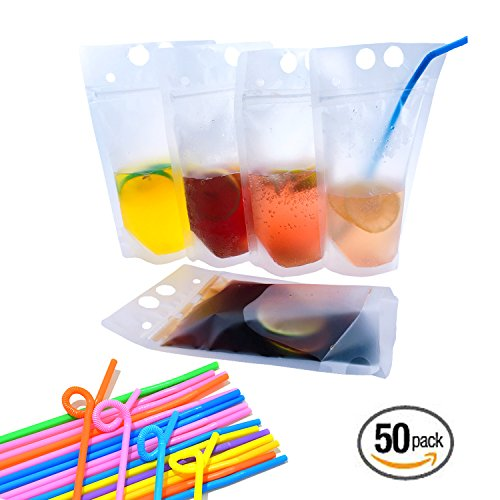 CZRZJ Clear Drink Pouches Heavy Duty Hand-held Reclosable Zipper Stand-up Heat-proof Plastic Pouches with Straws, Case of 50