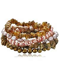 """Autumn Leaf Multi-Color Dyed Freshwater Cultured Pearl and Gemstone Chips 5 Piece Stretch Bracelet Set, 7.5"""""""
