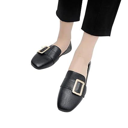 a7587c6da25ca6 Women s Comfort British Retro Single Shoes Shallow Mouth Low Heel Pump Flat  Shoes (Black