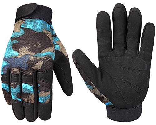 JIUSY Tactical Full Finger Gloves for Cycling Motorcycle Motocross Riding Driving ATV Bike Hunting Hiking Airsoft Paintball Shooting Mechanic Work Size X-Large Camouflage Blue