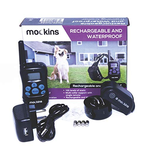 Mockins 100% Waterproof and Rechargeable Electronic Remote Training Dog Collar | Shock Collar for Dogs with 990 ft Range…