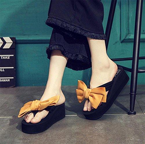 Tacones y zapatos mariposa nudo zapatillas zapatillas Zapatos de playa de señoras 4