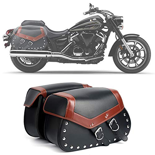 2PC Heavy-duty Waterproof Motorcycle Saddlebags 2-Strap - Extra-Large PU Synthetic Leather Insulated Throw-Over Saddlebag Tool Bag | Side Bag | Handlebar Bag w/Quick Release Buckles (Black A) ()