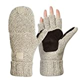 Knitted Glove Warm Wool Sentry Mitten Winter Convertible Glove with Mitten Cover