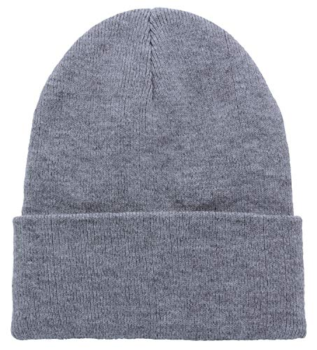 Top Level Unisex Cuffed Plain Skull Beanie Toboggan Knit Hat/Cap in 20 Colors (Heather ()