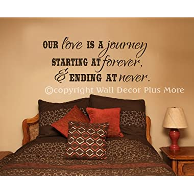 Wall Decor Plus More WDPM2891  Our Love is a Journey, Beginning at  Forever and Ending at  Never Wall Decal Bedroom Quote, 27x11.5-Inch, Chocolate