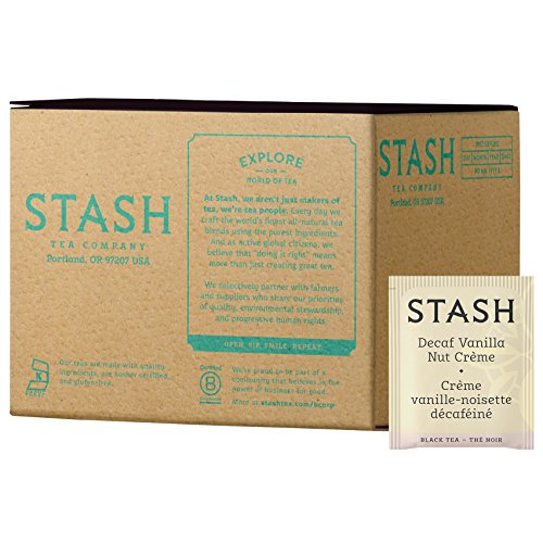 Stash Tea Decaf Vanilla Nut Creme Black Tea 100 Tea Bags in Foil (Packaging May Vary) Individual Decaffeinated Black Tea Bags for Use in Teapots Mugs or Cups, Brew Hot Tea or Iced Tea