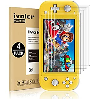 [4 Pack] Screen Protector Tempered Glass for Switch Lite, iVoler Transparent HD,High Definition,Clear Anti-Scratch with Anti-Fingerprint Bubble-Free Fit Switch Lite 2019…