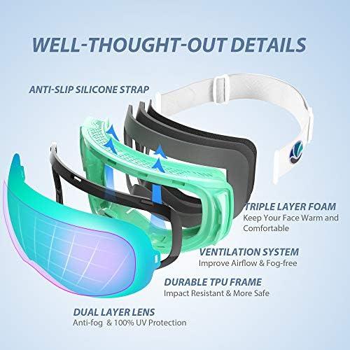 VANRORA Ski Goggles, Snowboard Goggles, Magnetic & Clip Locking System, Interchangeable Lens