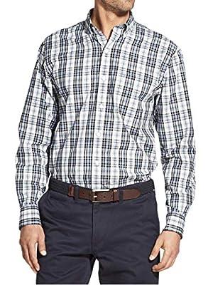 IZOD Men's Core Button Down Long Sleeve Stretch Performance Plaid Shirt