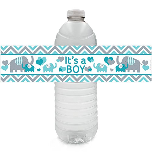 Teal Blue and Gray Elephant - Its a Boy Baby Shower Water Bottle Labels (24 Count)