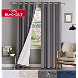 Flamingo P 100% Blackout Curtains Grommet Top Home Decor Thermal Insulated & Waterproof Linen Like Window Treatment Drapes (Sold as 2 Panels, W52 x L84, Gray)