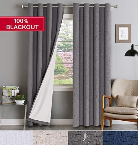 Flamingo P 100% Blackout Curtains Waterproof Faux Linen Extra Long 108