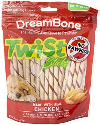 DreamBone Twist Sticks, Rawhide-Free Chews for Dogs, with Real Chicken