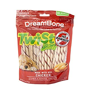Dreambone Twist Sticks, Rawhide-Free Chews For Dogs, With Real Chicken, 50-Count
