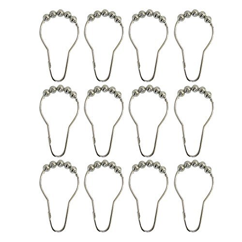 Roller Shower Curtain Hooks ✮ Rust-proof 304 Stainless Steel, Polished Chrome, Set of 12 ✮ Homelife MagicRings