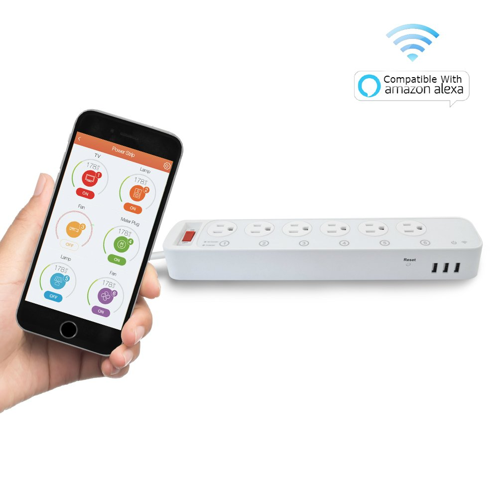 Digital Gadgets Wi-Fi Multi-Outlet Smart Power Strip 6 Outlet 3 USB Extension Cord For Home or Office Control With Smartphone Compatible with Alexa