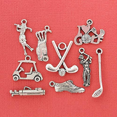 Charm - Golf Charm Collection Antique Silver Tone 9 Charms - COL040 ()