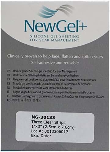 NewGel+ Silicone Gel Sheet for Scars, 1 x 3 Inch, Clear, 3 Count