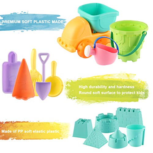 MINGPINHUIUS Kids Beach Toys Toddlers Beach Sand Toy Set with Bucket Castle Molds and Mesh Bag Soft Plastic Material (14 pcs)