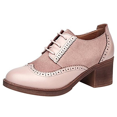 Rismart Womens Chunky Talon Bottines Lace Up Wingtips Vintage En Cuir Oxfords Chaussures Rose