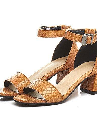 LFNLYX Zapatos de mujer-Tacón Robusto-Punta Abierta / D'Orsay y Dos Piezas-Sandalias-Oficina y Trabajo / Vestido / Casual-PU-Negro / Amarillo / Yellow
