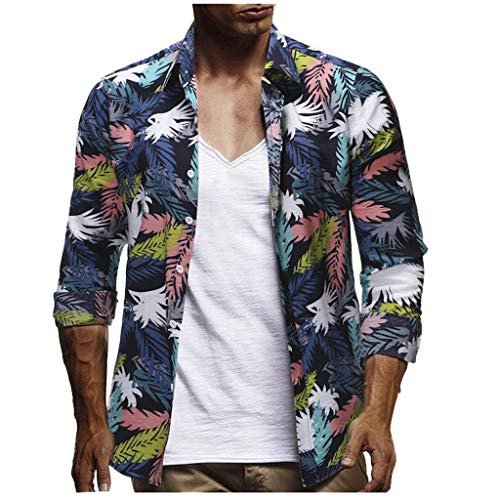 JJLIKER Men's Button Down Long Sleeve Hawaiian Shirt Floral Print Tops Summer Holiday Beach Party Aloha Tee Shirts -