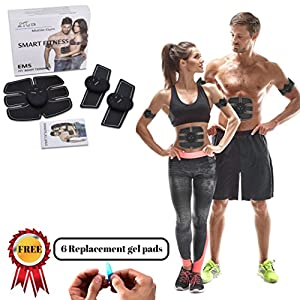 Abs Stimulator, Ab belt, EMS Trainer, Abdominal muscle toner, Abs Trainer, Toning Belt, Abdominal pad, Electronic training pads, Abdominal pad, INCLUDES FREE (6 EXTRA REPLACEMENT GEL PADS)
